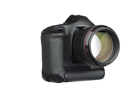 photo of object s: Close-up shot of black Digital SLR isolated over white background.