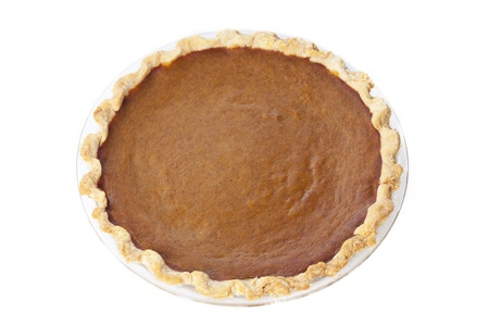 A single homemade pie shot from an aerial viewpoint on a white backdrop. Stock Photo - 16973782