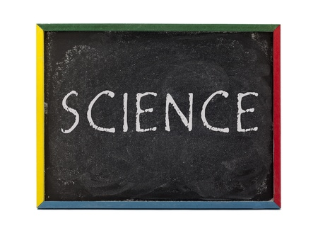 slateboard: Science written on slate board and displayed over white background. Stock Photo