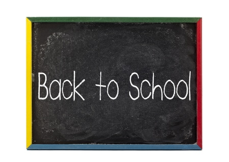 slateboard: Back to school written on slate board and displayed over white background. Stock Photo