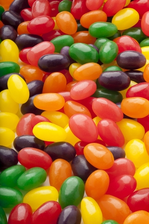 rubbery: Bunch of jelly beans in different colors. Stock Photo