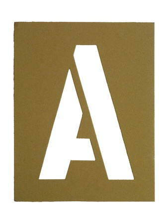 Cardboard with cut out letter A isolated in a white background photo
