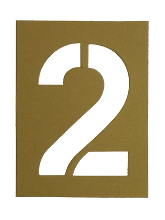 Close-up image of a cardboard with cut out number 2