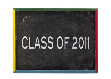 slateboard: Class of 2011 written on slate board and displayed on white background.