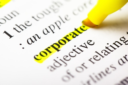 "The word ""corporate"" highlighted Reklamní fotografie"
