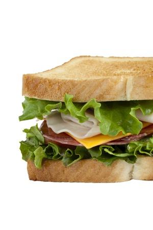 ham sandwich: Immagine ritagliata di panino al prosciutto isolato in uno sfondo bianco