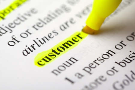 """The word """"customer"""" highlighted signifying importance Banco de Imagens"""