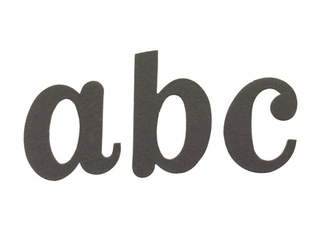 Cut out lowercase letters a, b and c photo