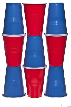 throwaway: Red and blue disposable cups arranged over a white background