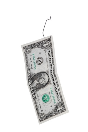Close-up image of one dollar hanging on the fish hook over the white background photo