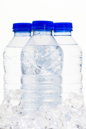 Bottles of water on a pile of ice