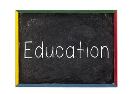 slateboard: Education written on slate board and displayed over white background.