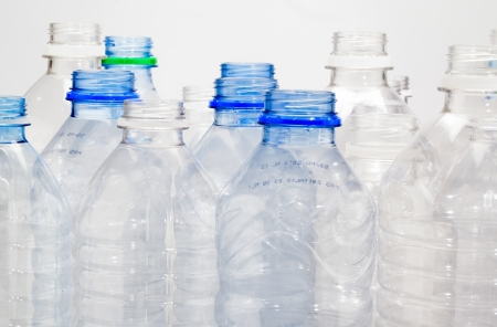 A close up on a group of empty water bottles