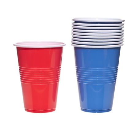 throwaway: Empty red and blue plastic cups over a white background Stock Photo