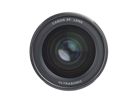 liesure: Front of Camera Lens Isolated on a white background.