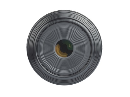 liesure: The front of a camera lens isolated on white.