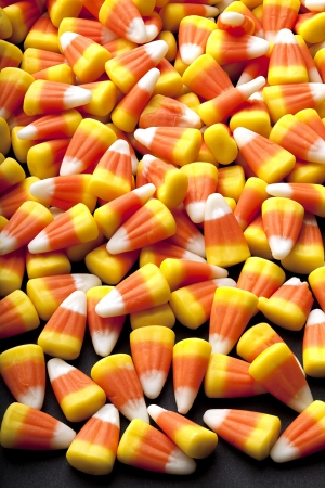 rubbery: Candy corn a well known goody commonly found in a halloween loot bag. Stock Photo