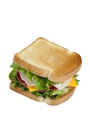 ham sandwich: Close up immagine del panino al prosciutto con crostini di pane su sfondo bianco Archivio Fotografico