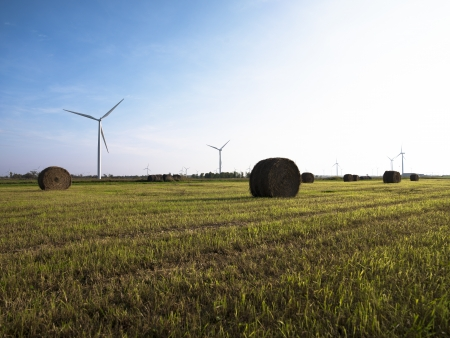 environmental conversation: Hay bale with wind turbine in the field with blue sky background.