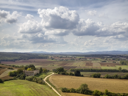 High angle shot of a landscape with clouds in background. Stock Photo - 16977345