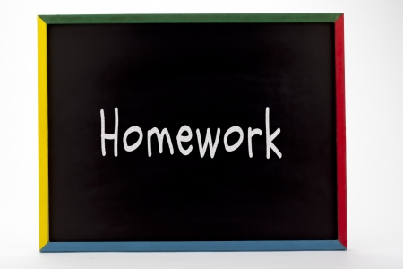 Homework written on slate board. Stock Photo - 16982304