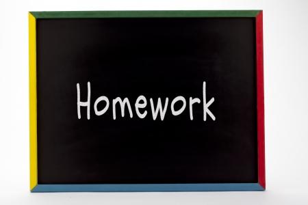slateboard: Homework written on slate board.