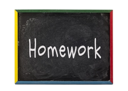 slateboard: Homework written on slate board and displayed over white background. Stock Photo
