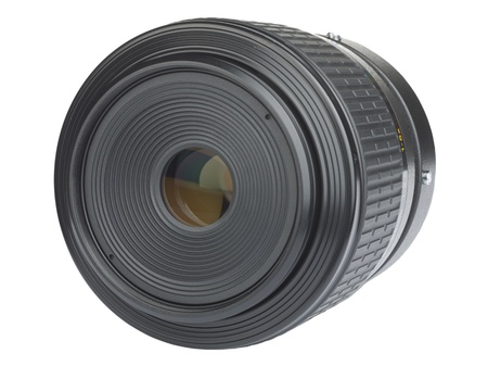 liesure: An Isolated camera lens on white.
