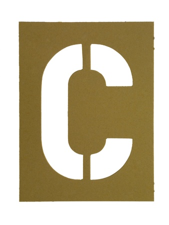 letter c: Golden cardboard with cut out letter C