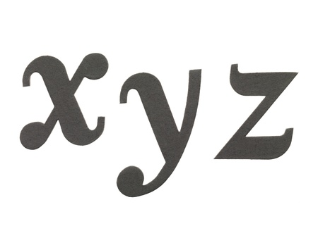 xyz: Image of letter cut outs against white background
