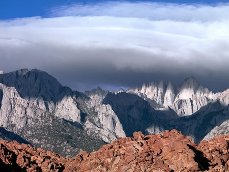 Rolling clouds over the Eastern Sierra Mountains photo