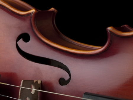 Vintage violin in black background photo