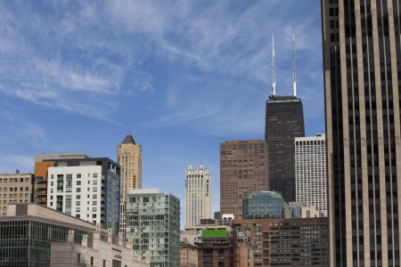 A horizontal image of several buildings in the city of Chicago, USA photo