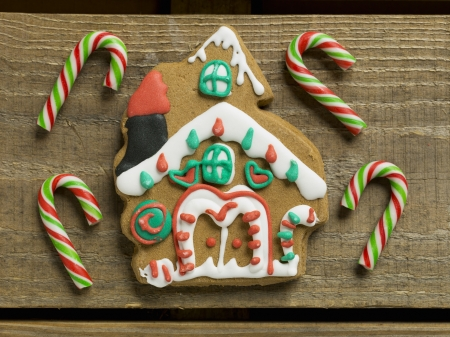christmas cookie: Christmas candies and cookie house in a macro image