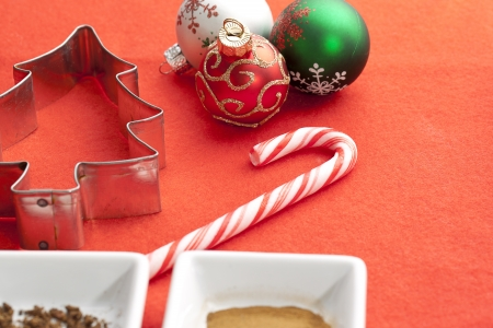 Christmas stuff in a red background Stock Photo - 16973475