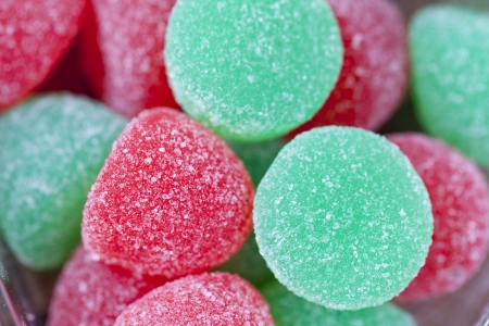 Extreme close-up shot of heap of red and green sugar candy  Stock Photo - 16977081