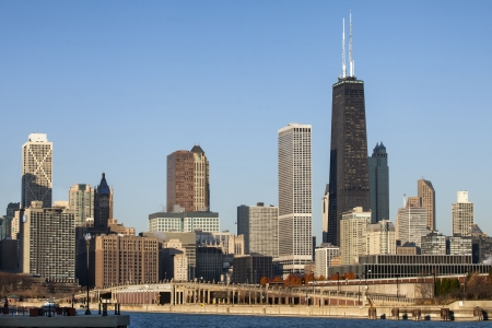 the sears tower: Downtown Chicago against blue sky Stock Photo