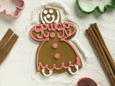 gingerbread cookie: Gingerbread cookie lying on flour with molders