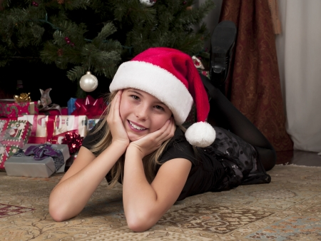 Sweet little girl wearing a santa hat Stock Photo - 16975783
