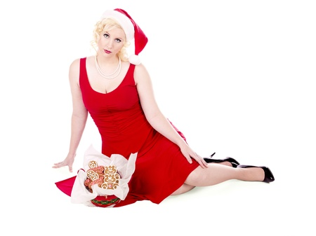 Portrait shot of a beautiful young female wearing Santa Stock Photo - 16973098