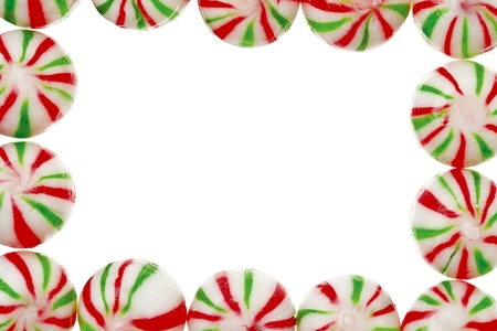 chewy: A colorful chewy peppermint candy on a white background