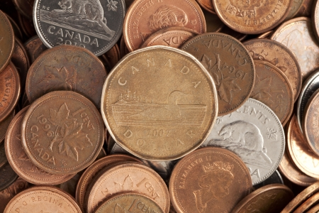 Macro image of a pile of Canadian coins