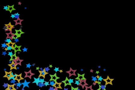 Close-up of colorful star shape party confetti isolated over black background Stock Photo - 16983705