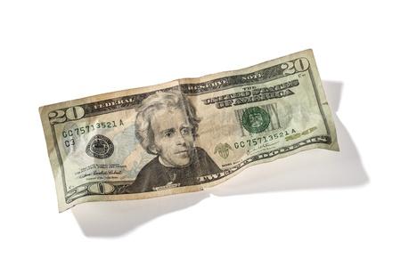 Detailed shot of twenty US dollar on white background. Stock Photo - 16995059