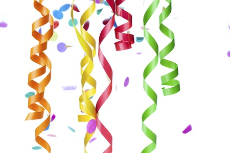 detailed shot: Detailed shot of multi colored numerous streamers and confetti against white background.