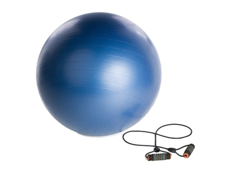 Image of exercise materials against white background Stock Photo