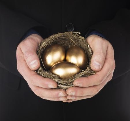 huevos de oro: La mano del hombre la celebraci�n de un nido con tres huevos de oro en el interior