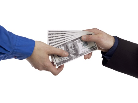 man holding money: Portrait of two human hands holding money against white background Stock Photo