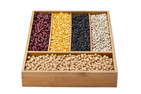 he is different: Assorted dried beans in a close-up image Stock Photo