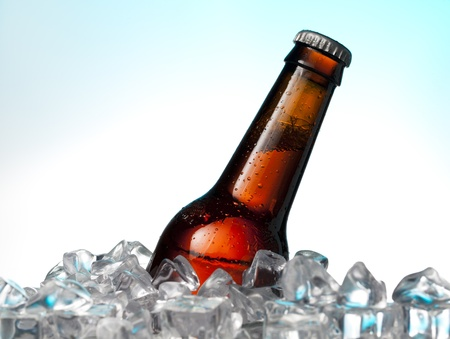 ice water: Alcohol drinks on ice chest Stock Photo